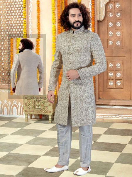 Beige Yellow Silk Embroidered Wedding Sherwani
