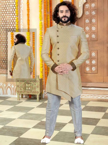 Light Golden Yellow Jacquard Plain Wedding Sherwani