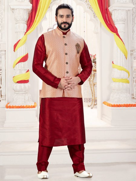 Maroon Art Silk Plain Fastival Kurta with Waistcoat