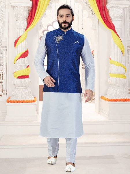 Off-White Art Silk Plain Fastival Kurta with Waistcoat