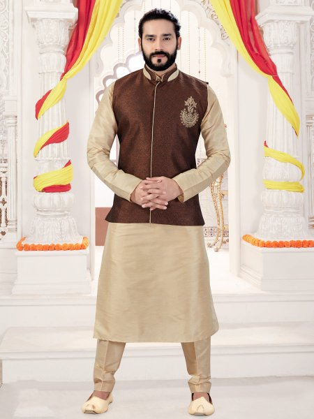 Cream Yellow Art Silk Plain Fastival Kurta with Waistcoat