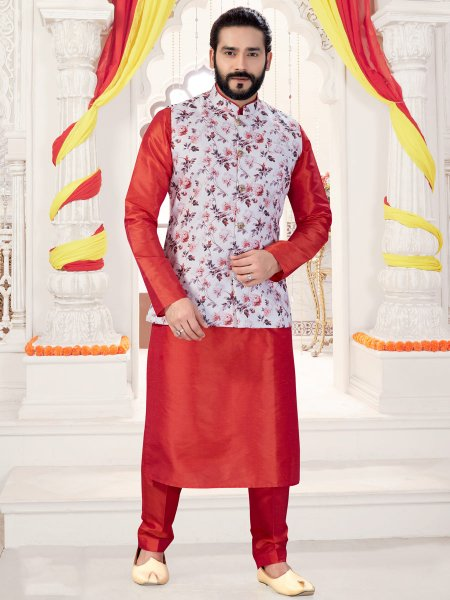 Tomato Red Silk Plain Fastival Kurta with Waistcoat