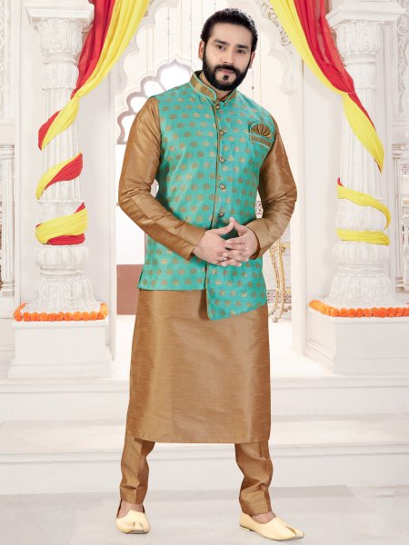 Tan Brown Art Silk Plain Fastival Kurta with Waistcoat