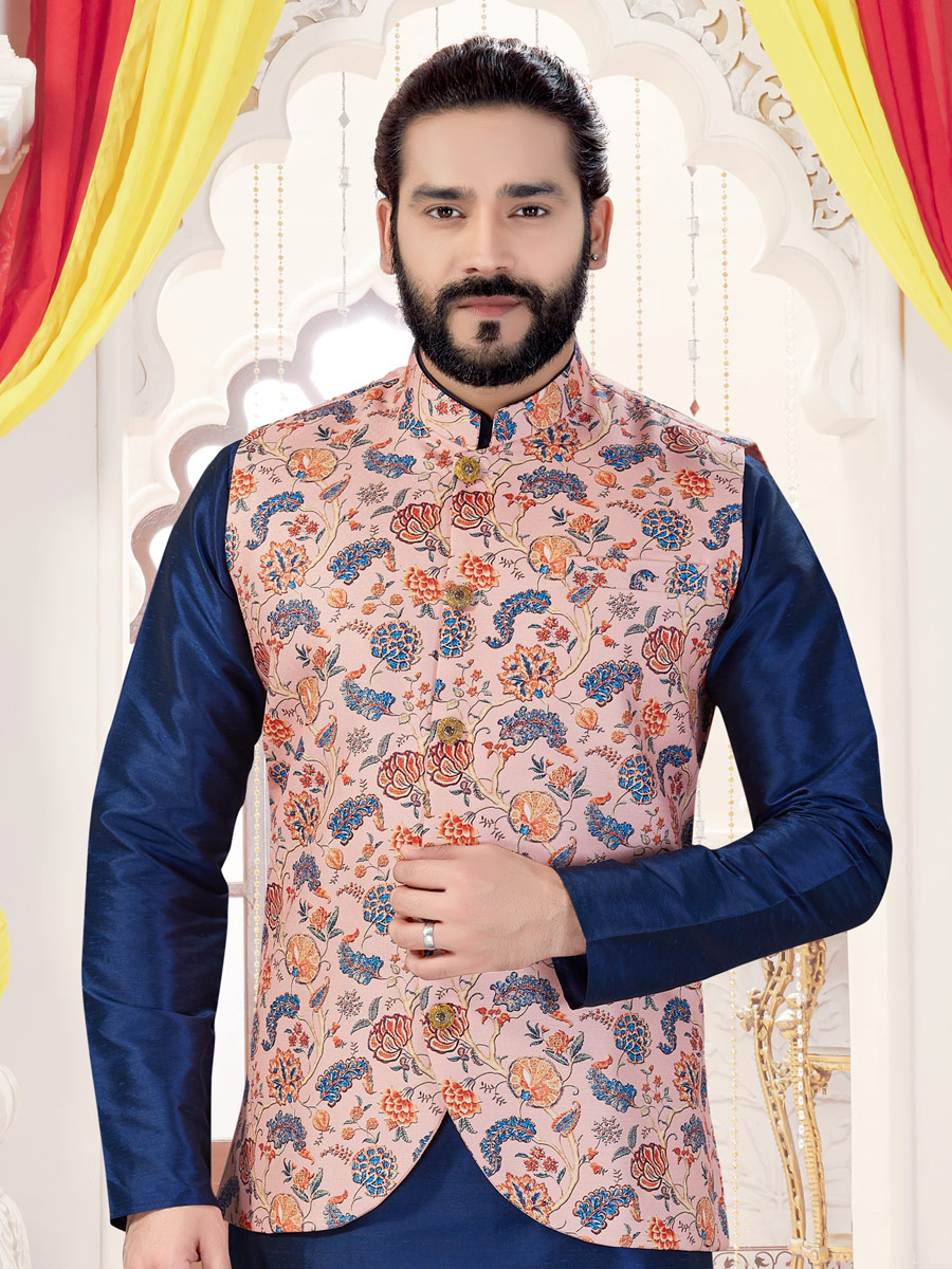Navy Blue Silk Plain Fastival Kurta with Waistcoat