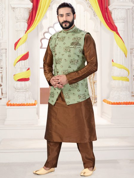 Russet Brown Art Silk Plain Fastival Kurta with Waistcoat