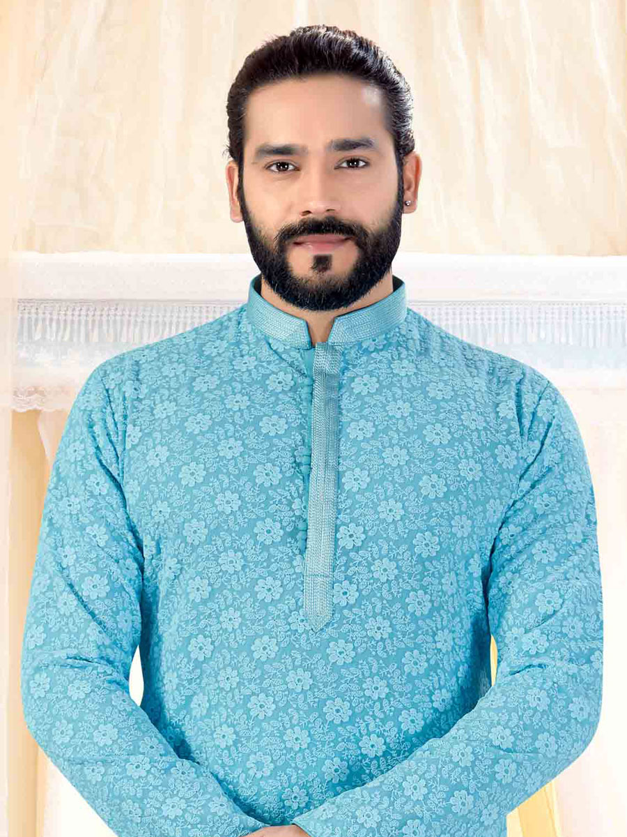 Sky Blue Faux Georgette Embroidered Festival Kurta