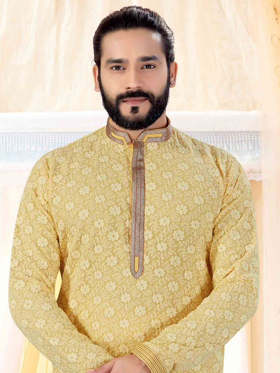 Buff Yellow Faux Georgette Embroidered Festival Kurta