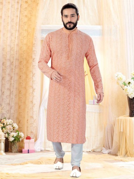 Apricot Orange Faux Georgette Embroidered Festival Kurta
