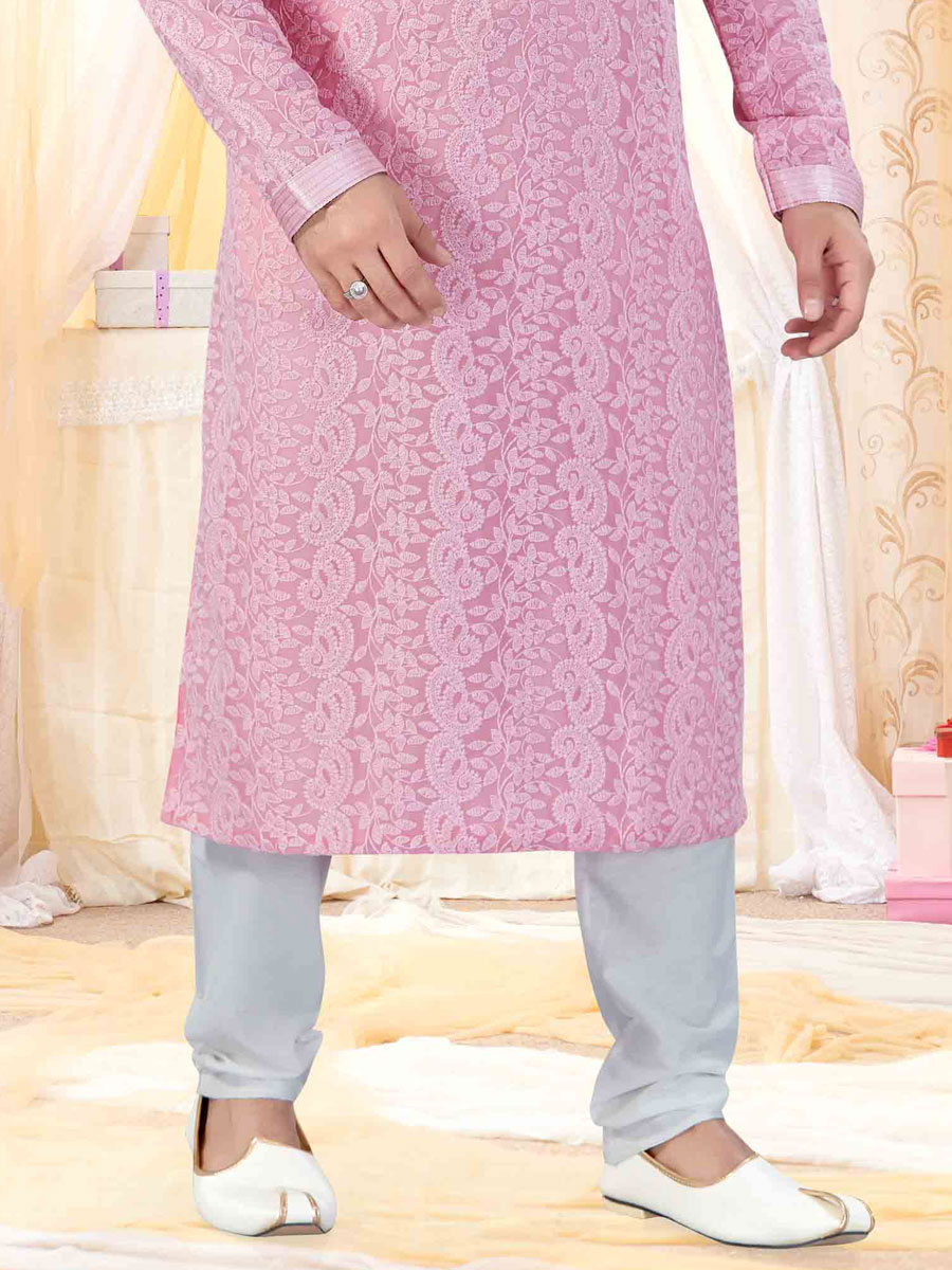 Light Pink Faux Georgette Embroidered Festival Kurta