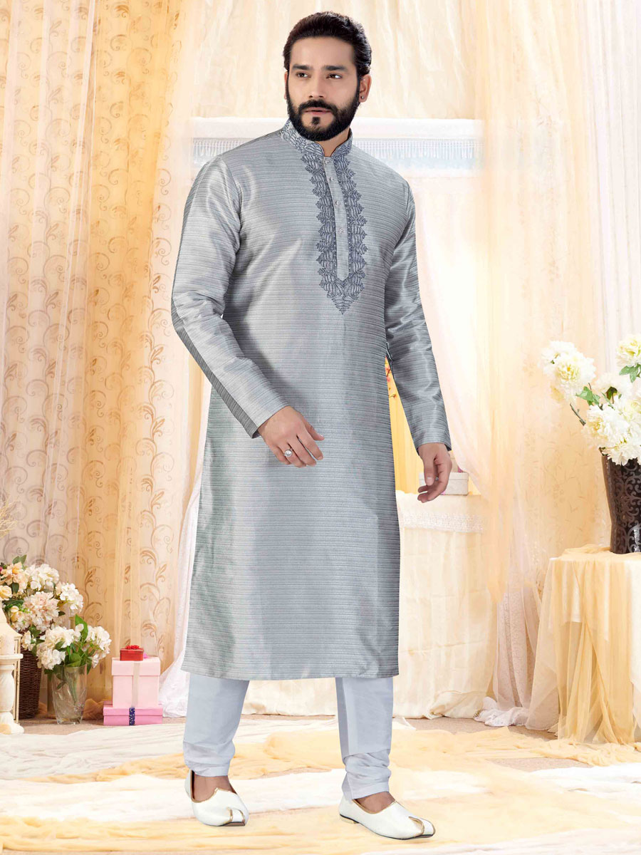 Slate Gray Silk Embroidered Festival Kurta