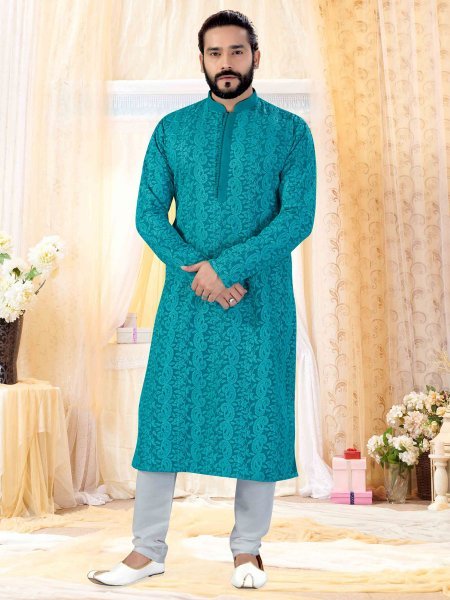 Teal Blue Faux Georgette Embroidered Festival Kurta