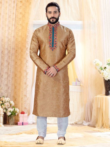 Fallow Brown Art Silk Embroidered Festival Kurta