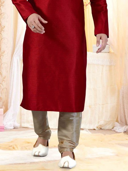 Venetian Red Faux Georgette Embroidered Festival Kurta