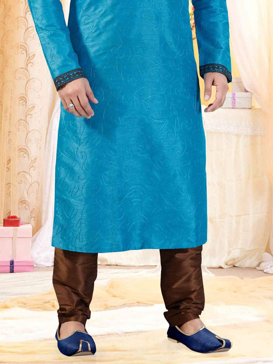 Cerulean Blue Art Silk Embroidered Festival Kurta