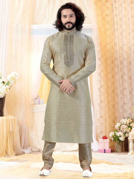 Cream Yellow Jacquard Embroidered Festival Kurta