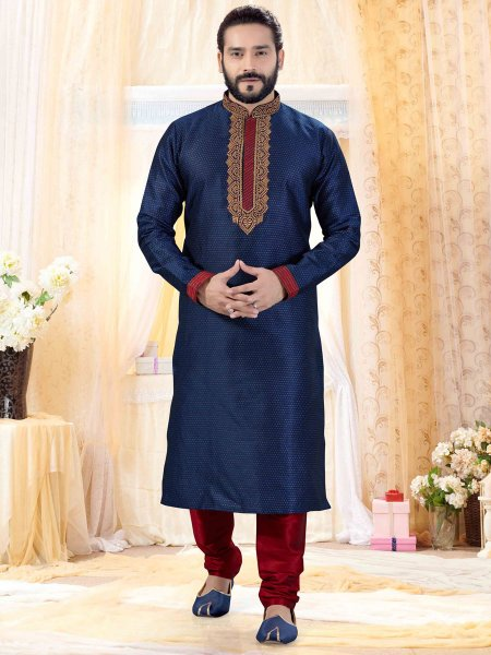 Navy Blue Jacquard Embroidered Festival Kurta