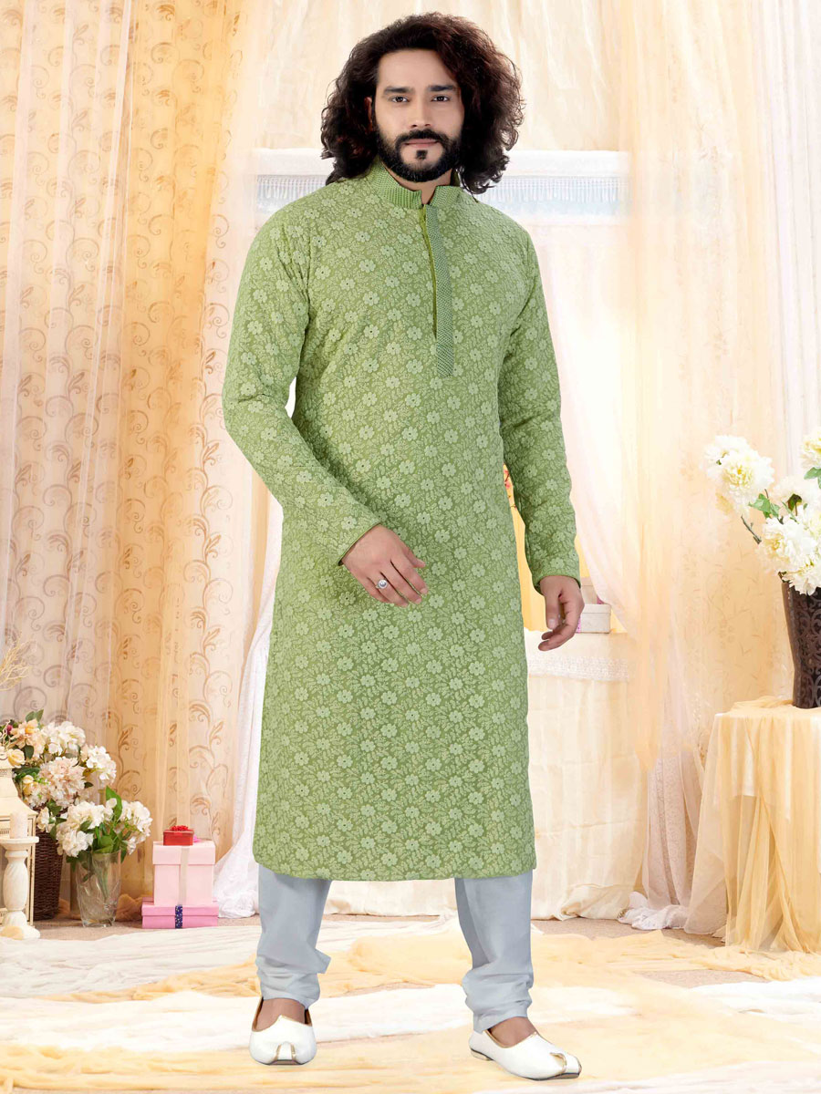 Light Green Faux Georgette Embroidered Festival Kurta