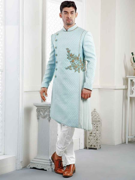 Sky Blue Jacquard Embroidered Wedding Sherwani