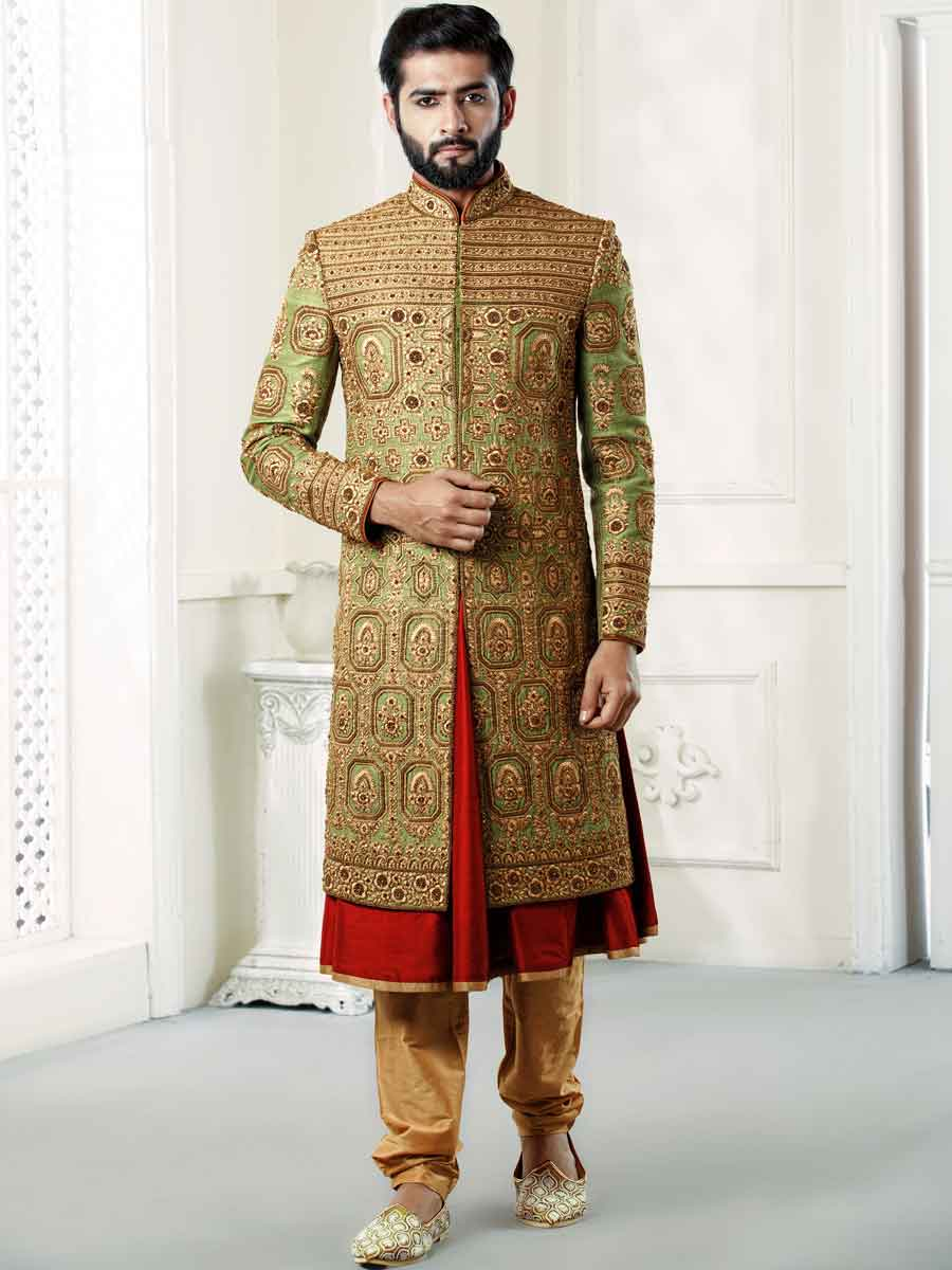 Light Green Silk Embroidered Wedding Sherwani
