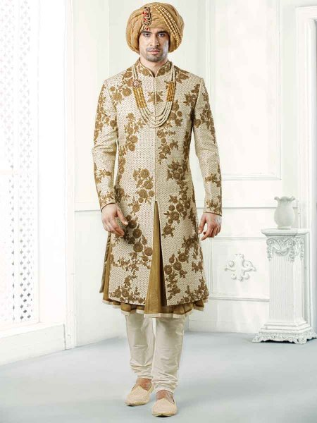 Golden Yellow Jacquard Embroidered Wedding Sherwani