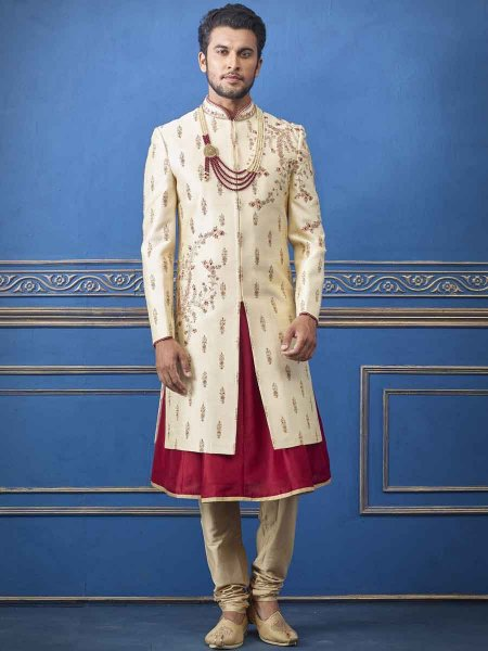 Golden Yellow Silk Embroidered Wedding Sherwani