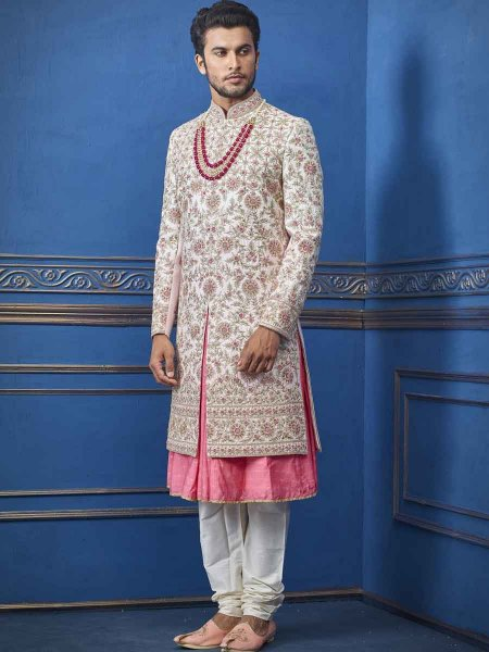 Tea Rose Pink Silk Embroidered Wedding Sherwani