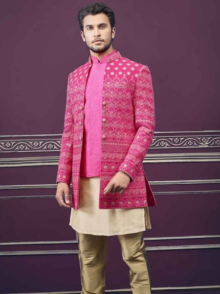Cerise Pink Silk Embroidered Wedding Sherwani