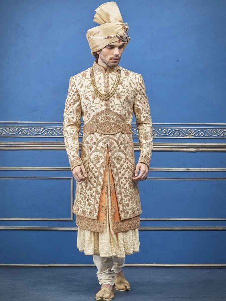 Golden Yellow and Orange Silk Embroidered Wedding Sherwani