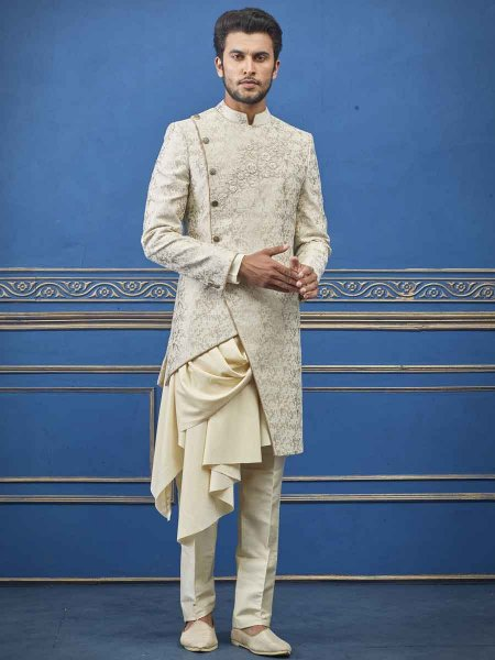 Golden Yellow Jacquard Imported Embroidered Wedding Sherwani