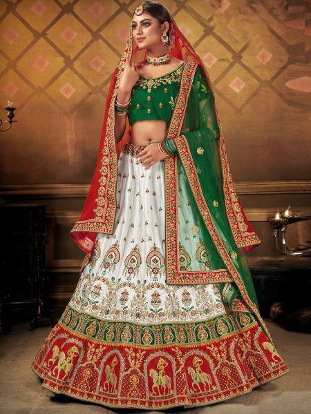 White Satin Embroidered Wedding Lehenga Choli