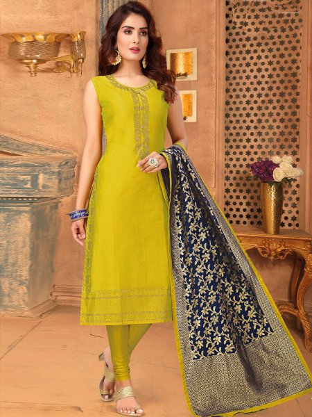 Lemon Green Art Silk Embroidered Festival Churidar Pant Kameez
