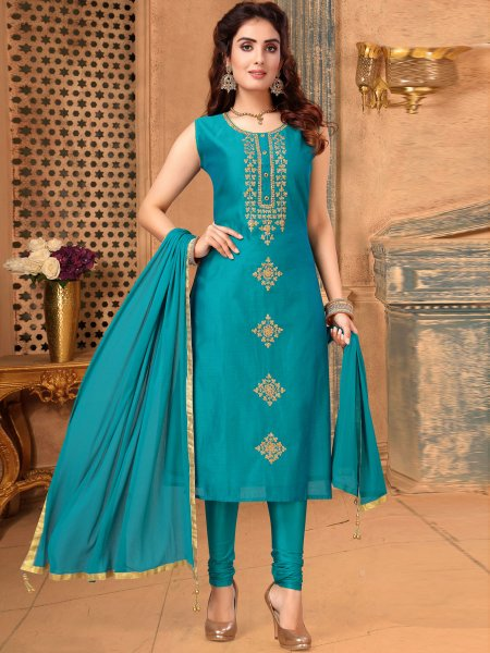 Bondi Blue Art Silk Embroidered Festival Churidar Pant Kameez