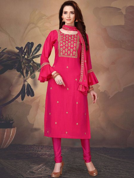 Carmine Pink Art Silk Embroidered Party Churidar Pant Kameez