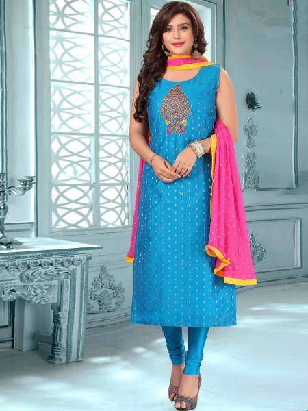 Dodger Blue Art Silk Embroidered Party Churidar Pant Kameez