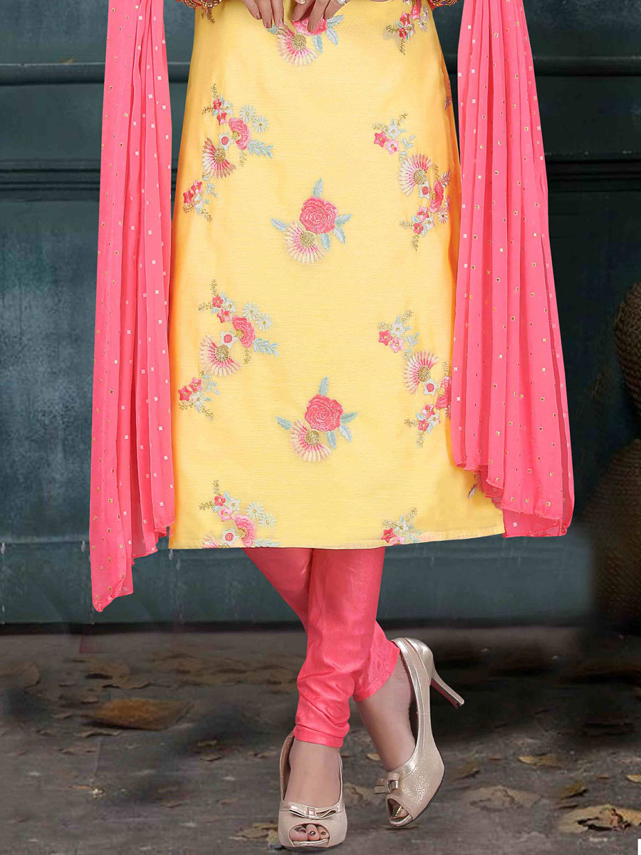 Peach Yellow Art Silk Embroidered Party Churidar Pant Kameez