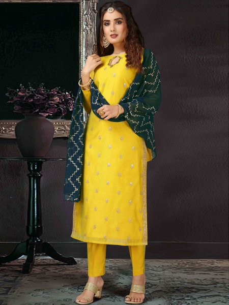 Lemon Yellow Art Silk Embroidered Festival Pant Kameez