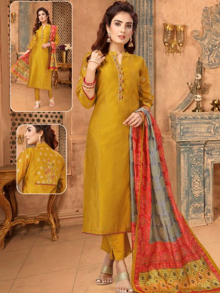 Metallic Gold Yellow Art Silk Embroiered Festival Pant Kameez