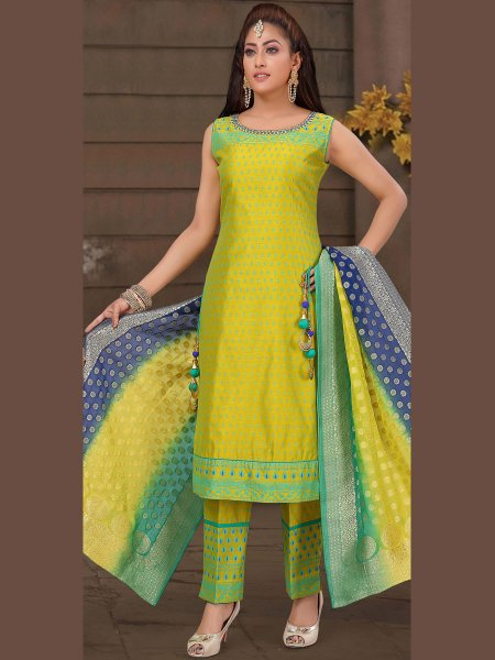 Lemon Green Art Silk Embroiered Festival Pant Kameez