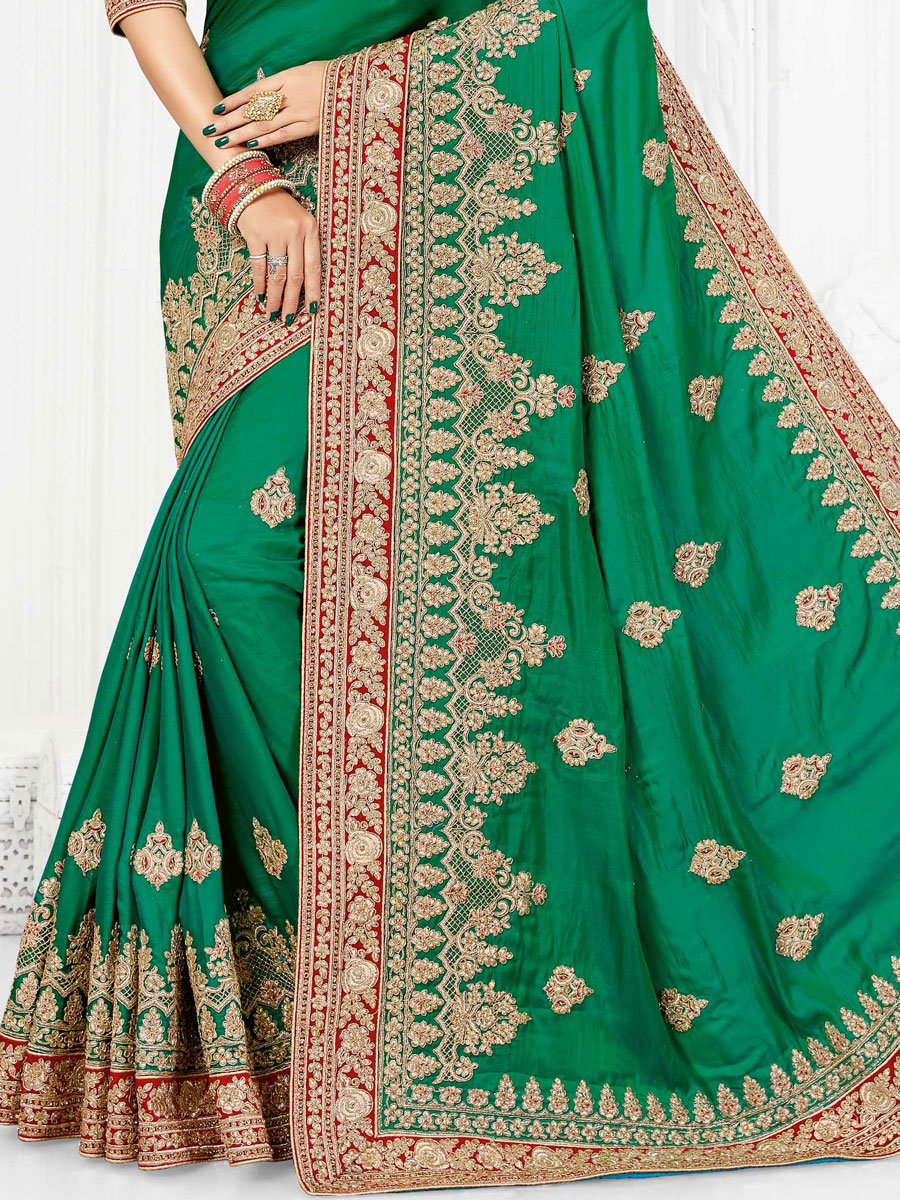 Sea Green Art Silk Embroidered Party Saree