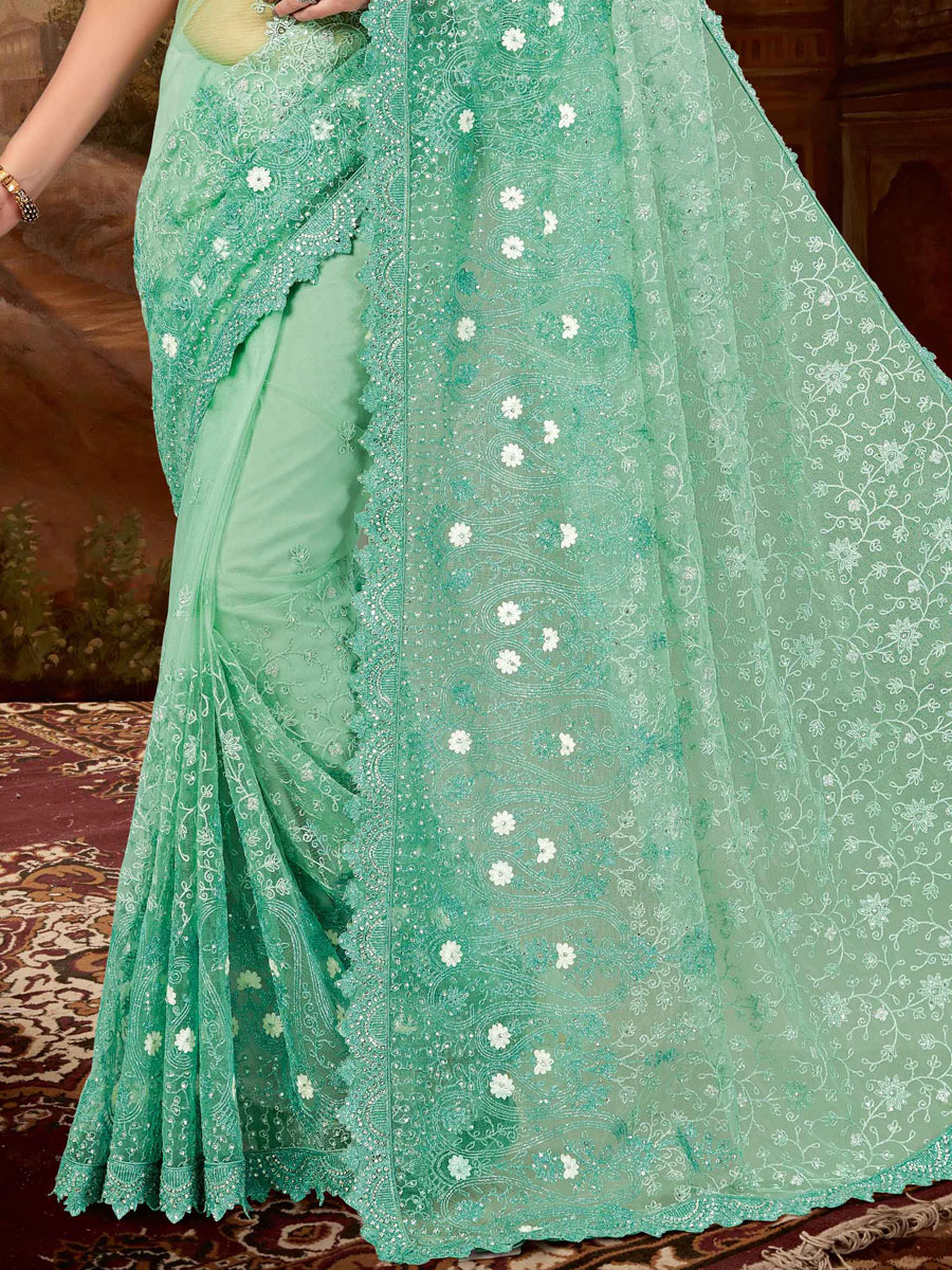 Light Jungle Green Net Embroidered Party Saree