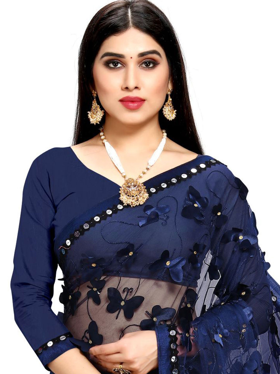 Navy Blue Chiffon and Net Designer Party Saree