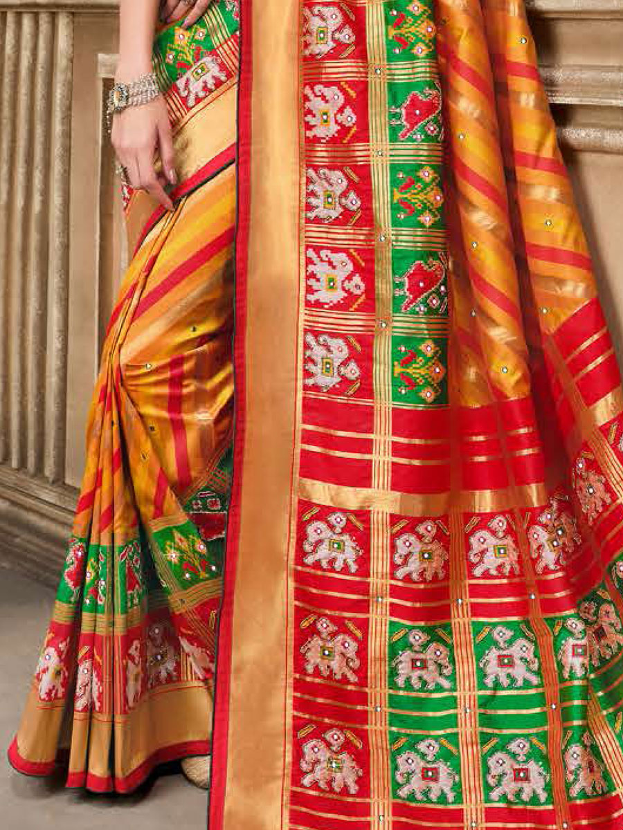 Pumpkin Orange and Rose Madder Red Silk Embroidered Festival Saree