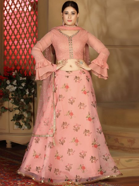 Coral Pink Chinnon Designer Party Lehenga Choli