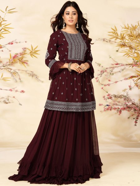 Wine Red Faux Georgette Designer Party Lehenga Choli