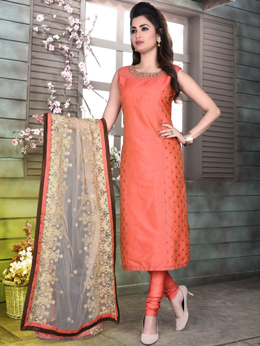 Coral Orange Cotton Silk Embroidered Party Churidar Pant Kameez
