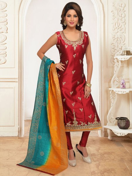 Venetian Red Cotton Silk Embroidered Party Pant Kameez