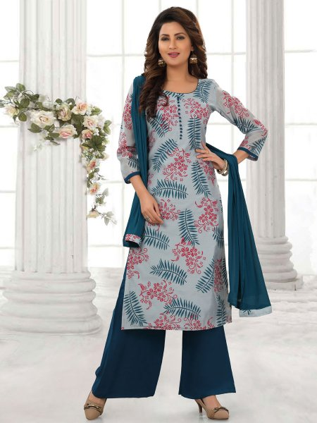 Carolina Blue Cotton Silk Printed Party Palazzo Pant Kameez