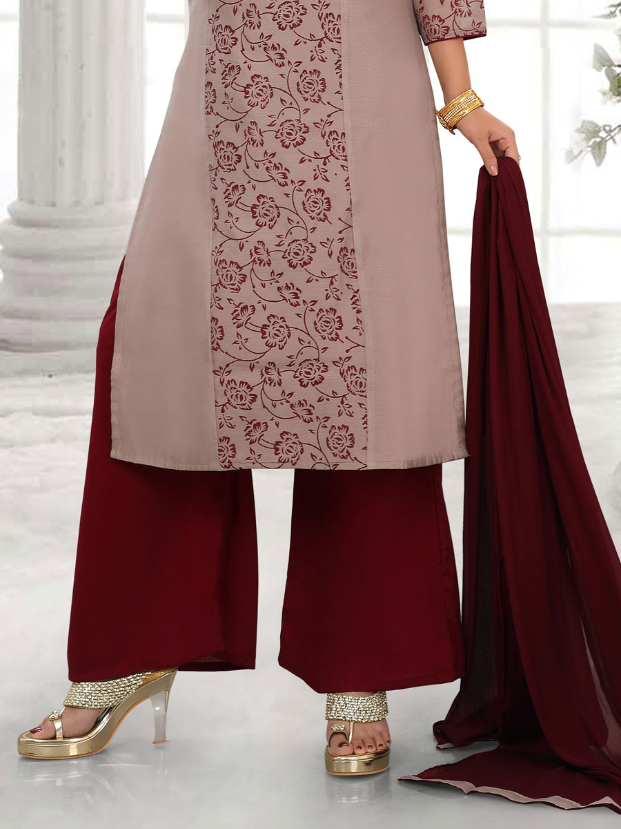 Gray and Maroon Cotton Silk Printed Party Palazzo Pant Kameez