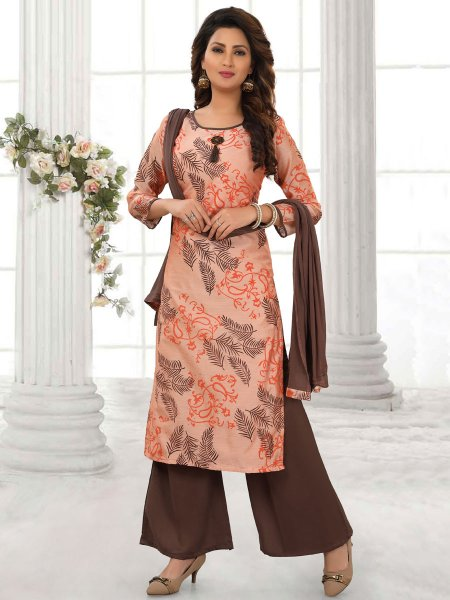 Peach-Orange Cotton Silk Printed Party Palazzo Pant Kameez