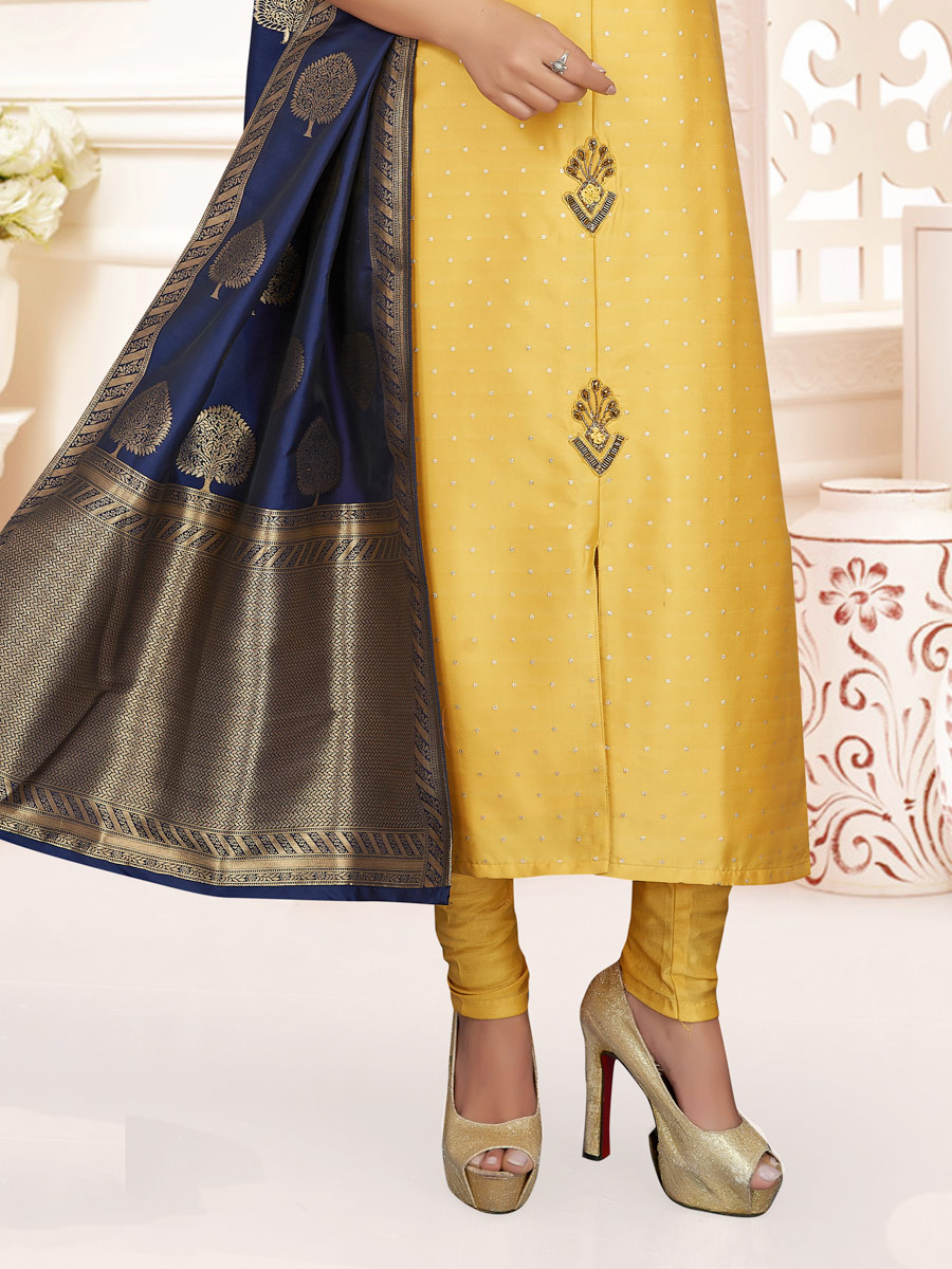 Jonquil Yellow Silk Embroidered Party Churidar Pant Kameez
